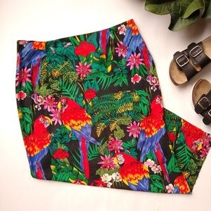 Vintage • bright colored parrot tropical skirt